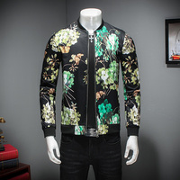 Black Flower Bomber Jacket Men Autumn Fashion Casual Jackets Coat Business Slim Fit Jacket Male Streetwear Outwear Clothes 5xl