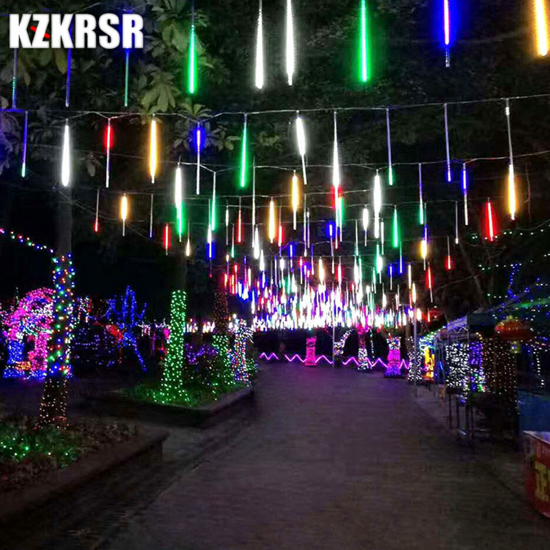 KZKRSR 20CM Led Meteor Shower Rain Tube Waterproof Outdoor Decoration Curtain Garland Christmas Tree Guirlande Lumineuse christmas pine baubles print fabric waterproof shower curtain