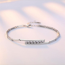TJP New Fashion 925 Sterling Silver Bracelets For Women Bride Wedding Party Anklets Girl Purple Zircon Engagement Bijou
