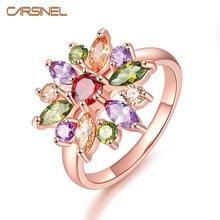 CARSINE уникальный AAA цветной, с кубическим Цирконом дизайн обручальное кольцо для женщин розовое золото цвет свадебные женские кольца бижутерия RI0084