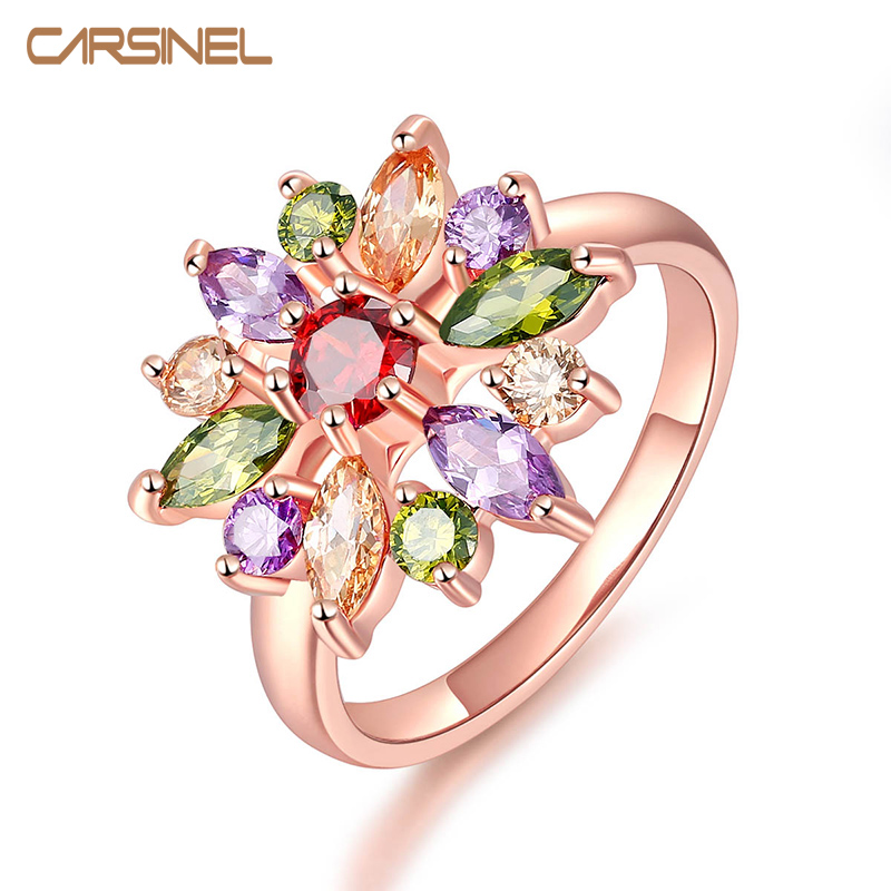 CARSINE Unique AAA Colorful Cubic Zircon Design Engagement Ring for Female Rose Gold-color Wedding Women Rings Bijouterie RI0084