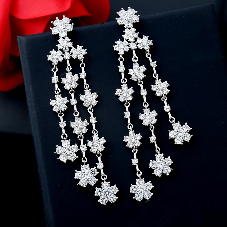 2019 new 925 silver Earrings Female Crystal from Swarovski New woman name tassel earrings micro set hot Fashion jewelry