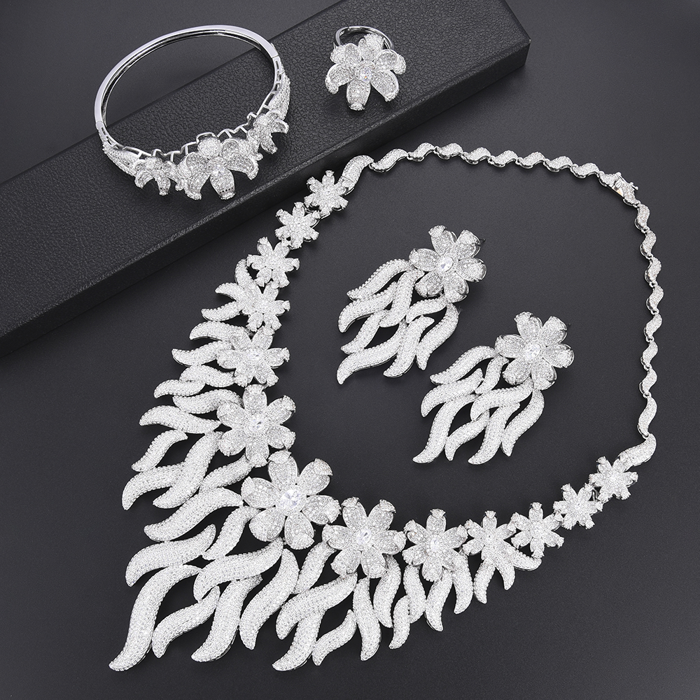 Luxury Cluster Flower Indian Dubai Collar Necklace Earrings Bangle Ring Fashion Jewelry Set For Women African wedding jewelry Luxury Cluster Flower Indian Dubai Collar Necklace Earrings Bangle Ring Fashion Jewelry Set For Women African wedding jewelry