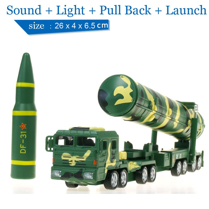 Children Lights & Sound DF-31A Intercontinental Ballistic Missile Launch Vehicle 1:64 Diecast Car Military Model Toy Pull Back mirza muhammad masood akbar indian ballistic missile defence programme