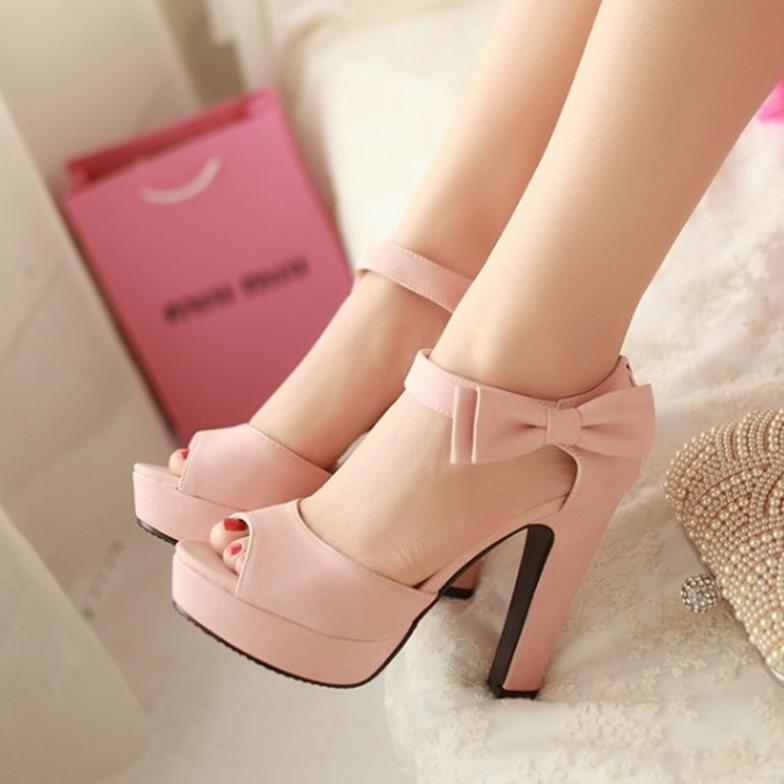 2015 Open Toe High Heel Sandals Bow Solid Ladies Wedge Summer Shoes Platform Thick - I'm with you store