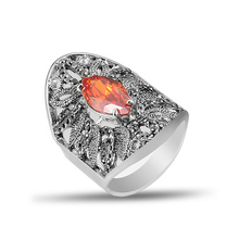 Luxury Vintage red Cubic Zircon Hollow Leaves Big Rings For Women Wedding Engagement party Antique Silver Color J02845