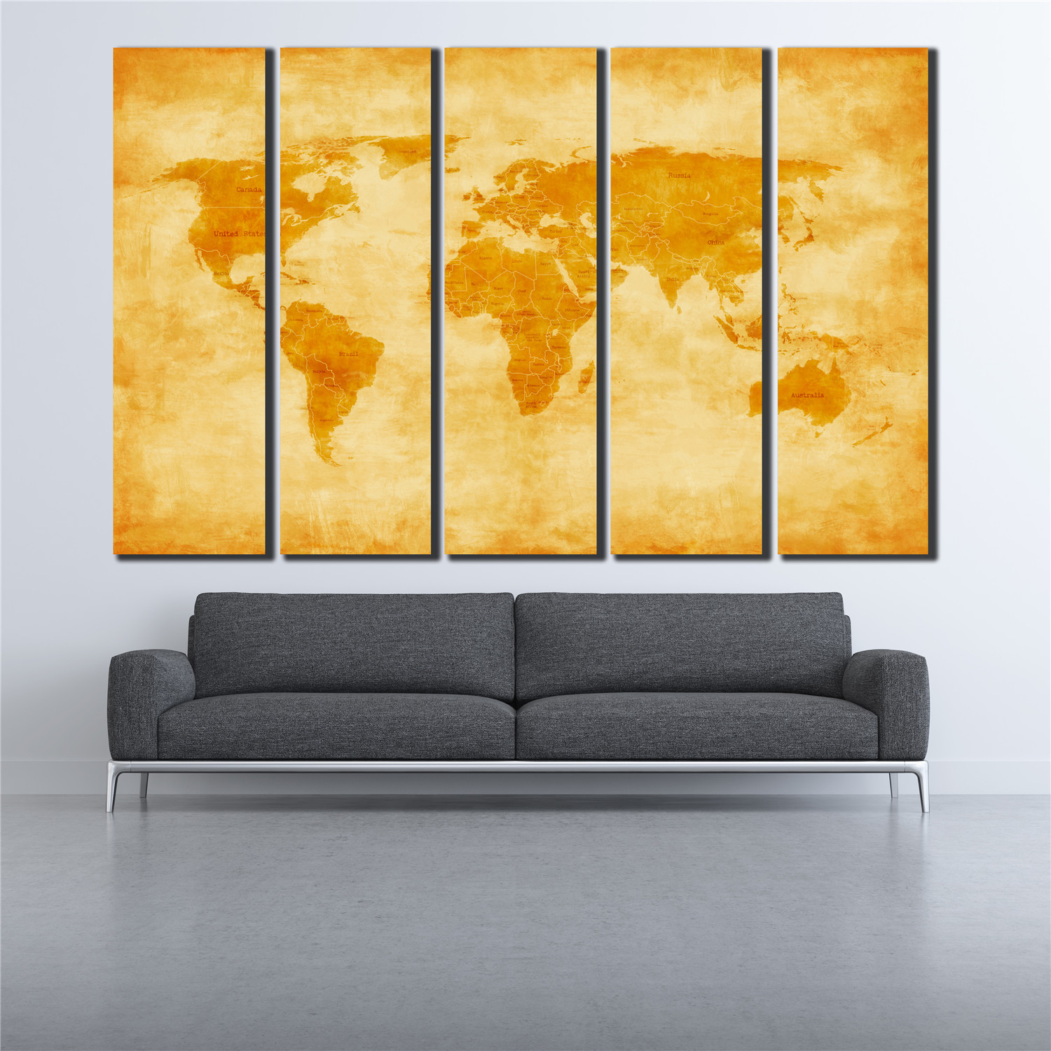 green world map poster prints on canvas 5 panels wall picture for ...