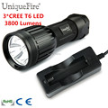 Free Shipping Flashlight 3* T6 LED 1200 lumens High Power Torche Light Torch For 1x 26650 Rechargeable Battery