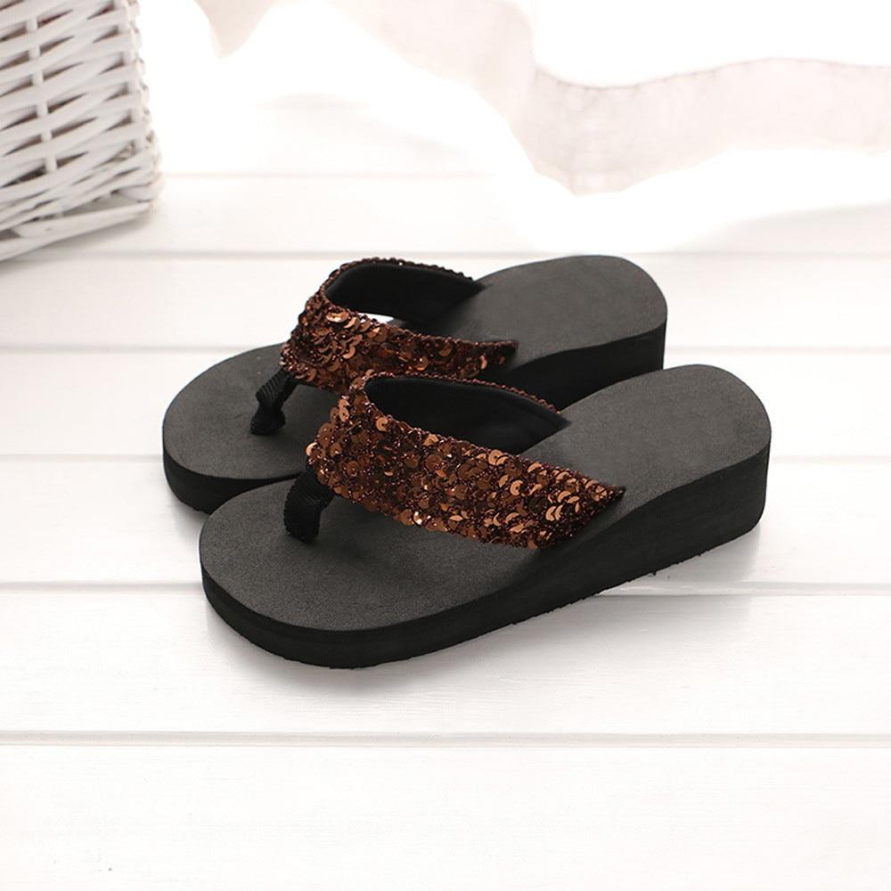 HTB11914cQ5E3KVjSZFCq6zuzXXaz Summer Women Flip Flops Casual Sequins Anti-Slip slippers Beach Flip Flat Sandals Beach Open Toe Shoes For Ladies Shoes #L5