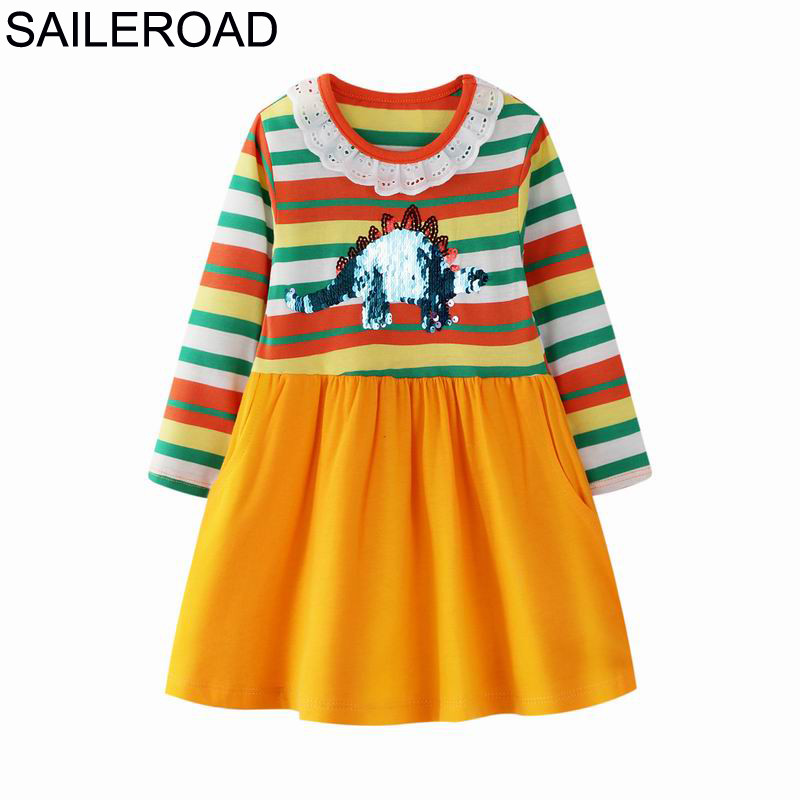 SAILEROAD Dress 8 Years Dinosaur Paillettes Dress Autumn Children Long Sleeve Dress Kids Clothes Pocket Unicorn Dress