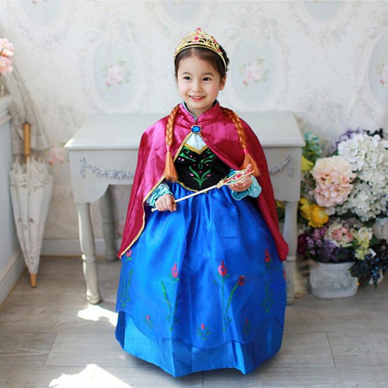 Meninas Vestido de Traje Dos Desenhos Animados Cosplay Rainha da Neve Vestidos de Princesa Elsa Anna Vestido Da Menina Da Criança Veste Roupas Para Crianças