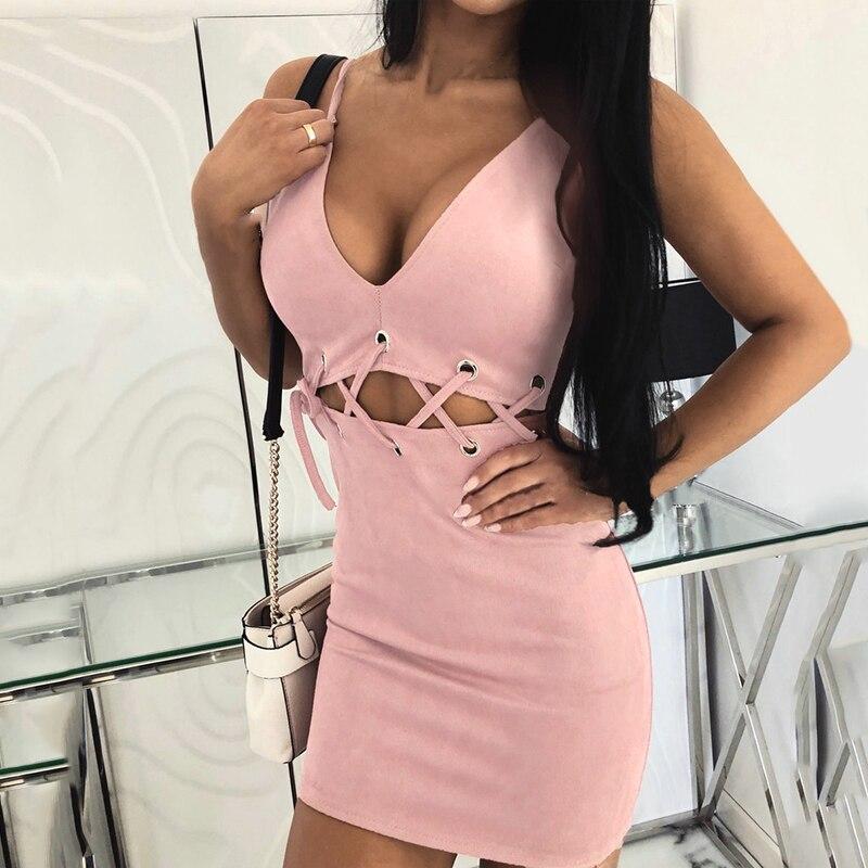Женское облегающее Короткое мини-платье с ремешками для вечеринки без рукавов для коктейльного клуба
