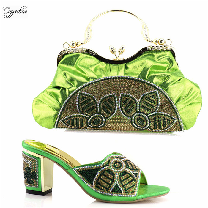 Модные женские Вечерние обувь и сумки набор приятно сандалии с мешком LY590 в зеленый, 38-42