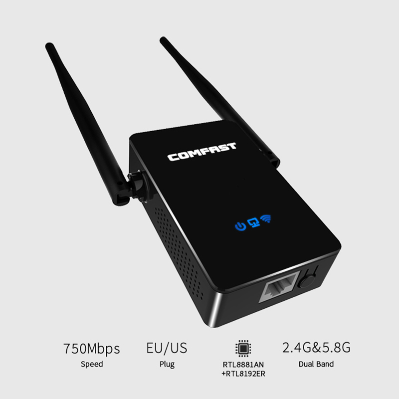 COMFAST 750Mbps wireless wifi repeater router Signal Booster 5Ghz dual band network 10dbi Antenna Range extender CF-WR750AC P15