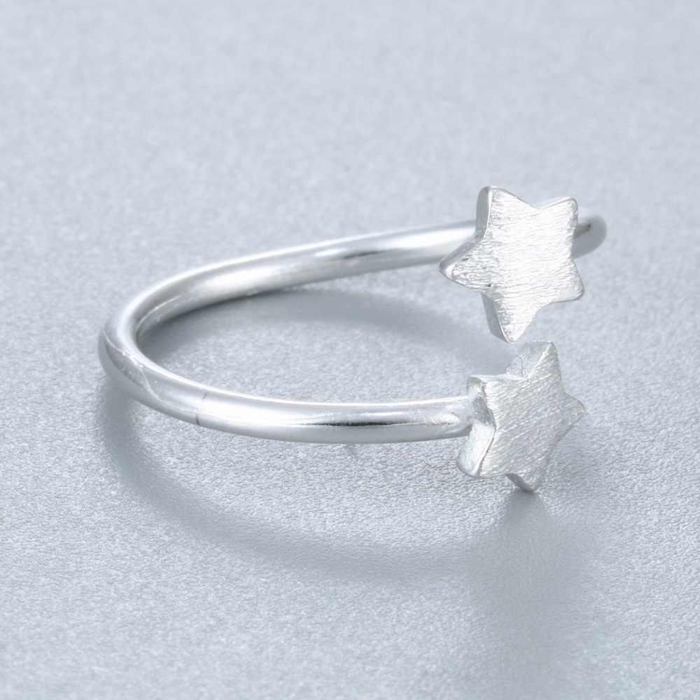 Cxwind милые двойные сверкающие кольца для женщин милые девушки Рождественский подарок массивные ювелирные изделия регулируемый размер 925 Серебряное кольцо Bijoux