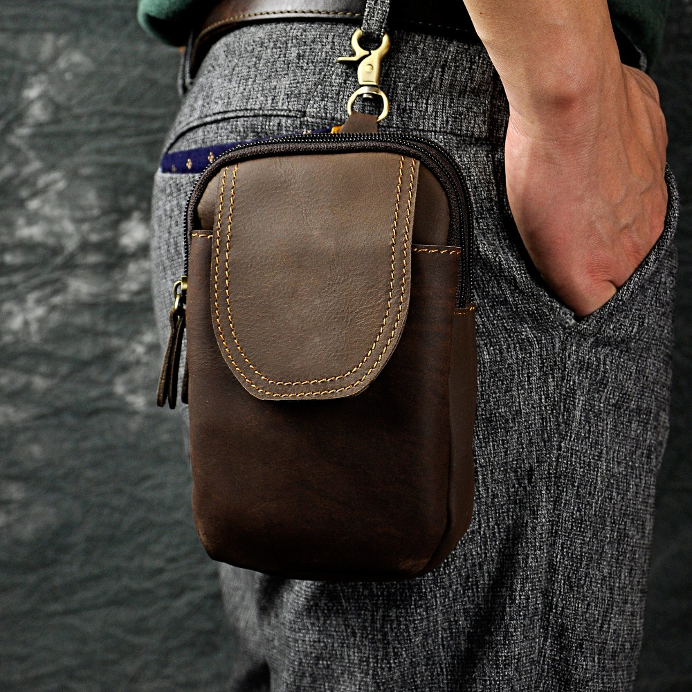 New Real Leather Men Casual Design Small Waist Bag Pouch Cowhide Fashion Hook Waist Belt Pack Cigarette Case Phone Pouch 013-b