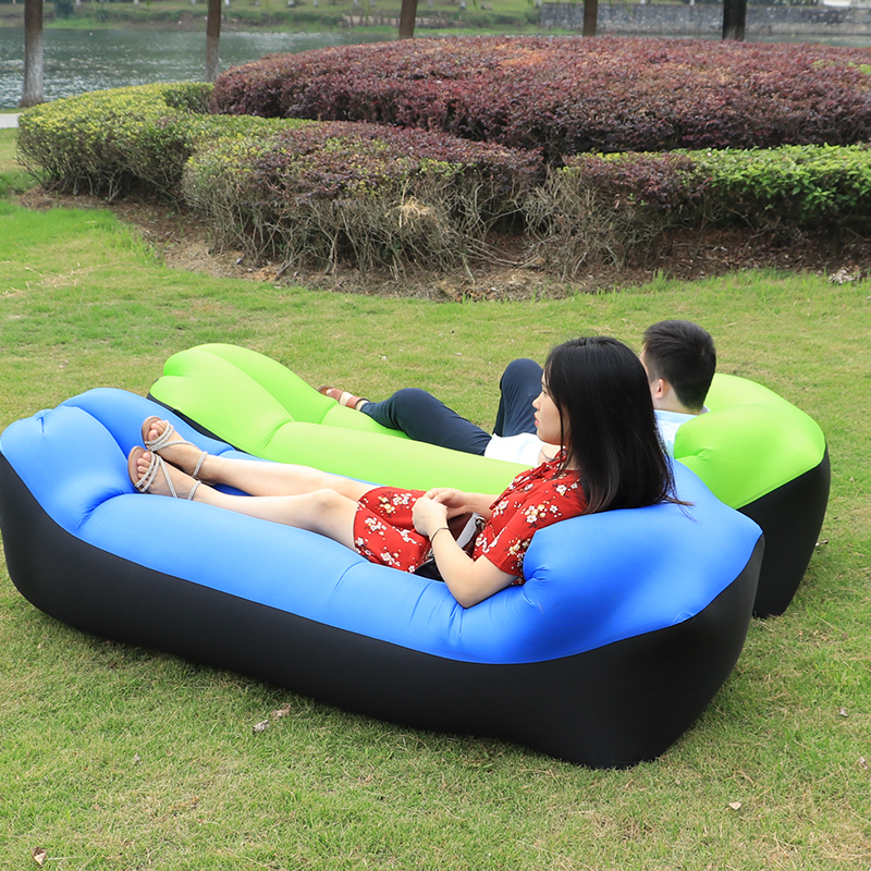 Inflatable Sun Lounger Camping Sofa Lazy Bag Folding Air Sofa Double Sleeping Bags Adult Air Bed Lounge Pad Chair Mattress