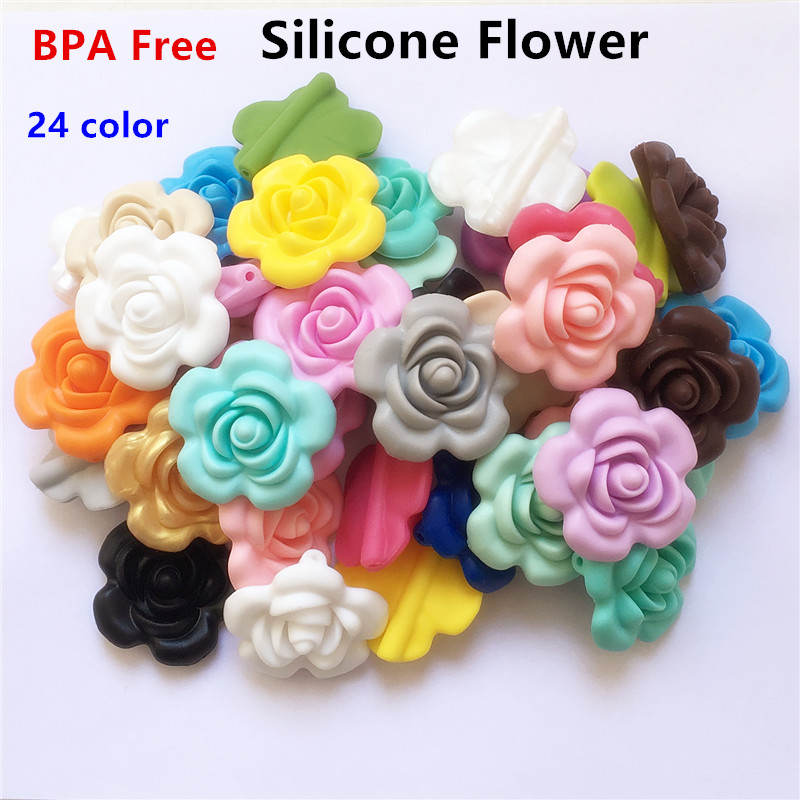 Baby Teethers Frugal Chenkai 500pcs Bpa Free Silicone Rose Flower Pendant Teether Beads Diy Handmade Baby Pacifier Dummy Teething Chew Jewelry Toy Lustrous Surface Dental Care