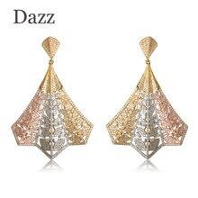 Dazz Trendy Folding Fan Shape Large Drop Earrings Full Zircons Three Tones Plated Luxury Jewelry Women Bridal Wedding Party Gift