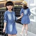2016 новый детская одежда девочек осень одежда новое прибытие вышитые джинсовое платье большой девственный хлопка с длинными рукавами платье