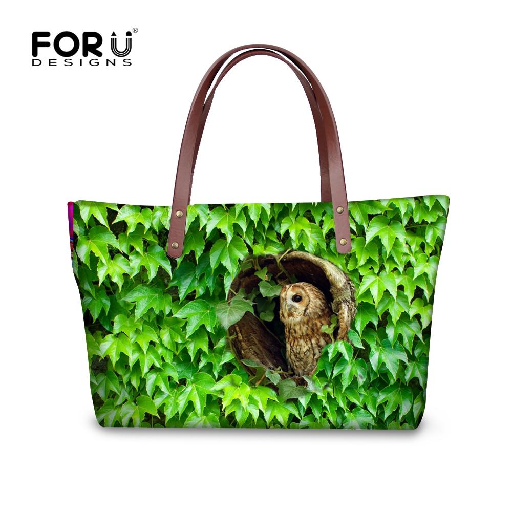 ماركة المرأة حقيبة حقيبة الحيوان البومة طائر الطباعة الكتف حقيبة السيدات كبير حمل حقيبة الكتب الكلية بولسا الأنثوية