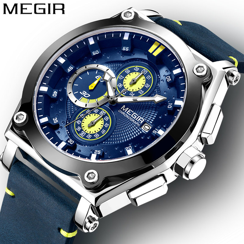 Megir Sport Watch Men Waterproof Military Watches Men Army Military Luminous Deportivo Leather Strap Quartz Man Watches Clock