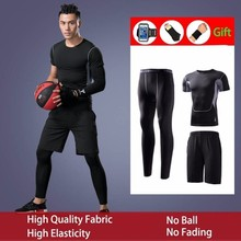 New 2019 Gym Running Sets Mens Fitness Compression Tights Sportswear Stretchy Training Sports Clothes Jogging Suits 5pcs
