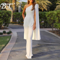 Beateen 2018 New Fashion Women Runway Jumpsuits One Shoulder Batwing Sleeve Romper Jumpsuit Sexy Bodycon Bodysuit Party Summer