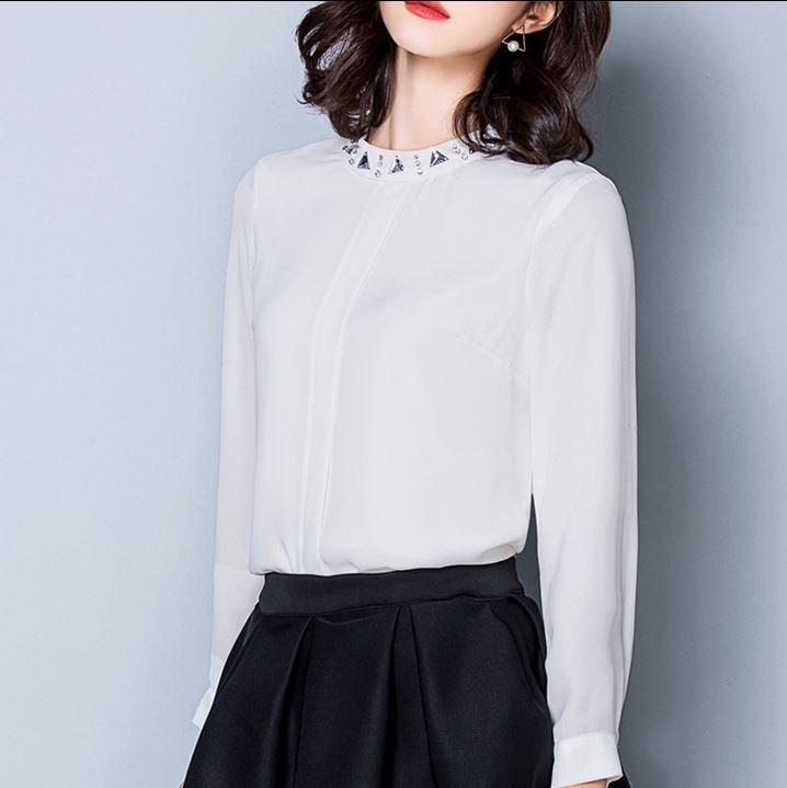 2017 nueva primavera de Corea de la blusa Con Cuentas camisa de gasa manga larga