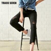 New TRACK SEVEN New Spring Style European American Women Jeans Pant Black Regular Hole Denim Girl