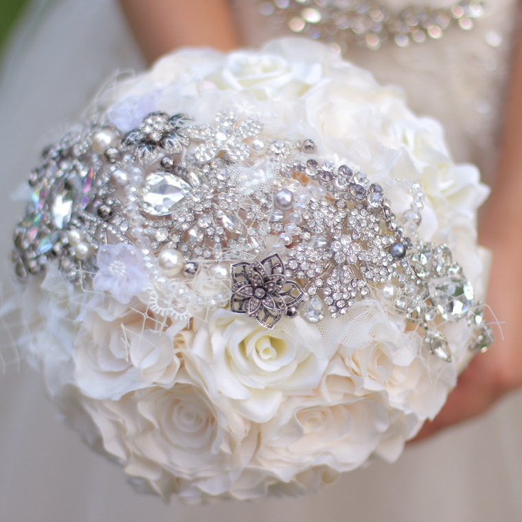 Ivory roses brooch bouquet silk flower bouquets custom rhinestone ...