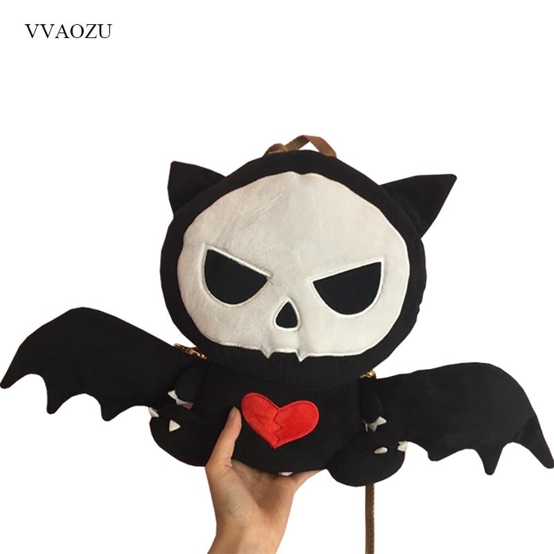 Cute Stuffed Devil Bag Punk Style Skull Shape Women Handbags Girls Back Pack Lolita Dark Bat Cat Messenger Bag with Wings skull cat print crescent hem top