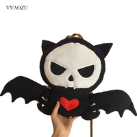 Cute Stuffed Devil Bag Punk Style Skull Shape Women Handbags Girls Back Pack Lolita Dark Bat Cat Messenger Bag with Wings