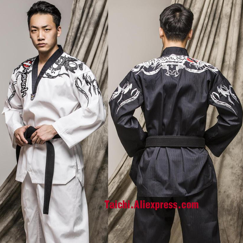 Martial Arts TKD Tae Kwon Do V-neck Adult & Children Taekwondo Clothes For Poomsae & Training,WTF Uniform,160-190cm Black/white