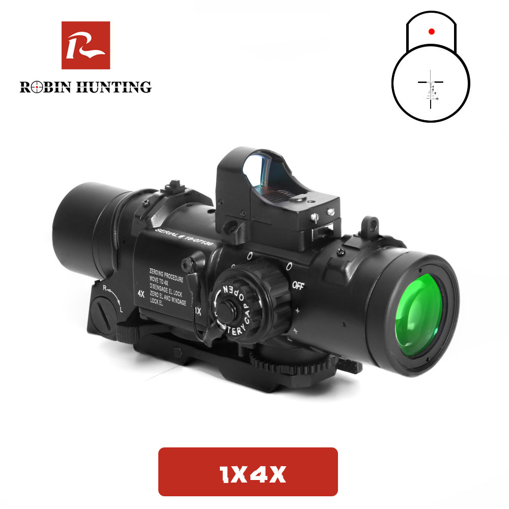 Robin Hunting Tactical 4x Fixed Dual Purpose Riflescope With Mini Red Dot Sight Optics Hunting Scopes For Rifle Air Gun Shooting