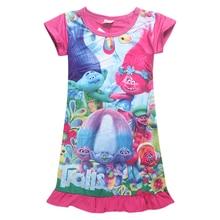 2018 New Summer Trolls Dresses for Girls 3D Printing Short S