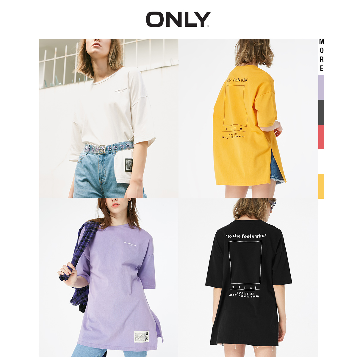 ONLY 2019 Spring Summer New Women's Loose Fit Round Neckline Letter Print Thin T-shirt  119101548