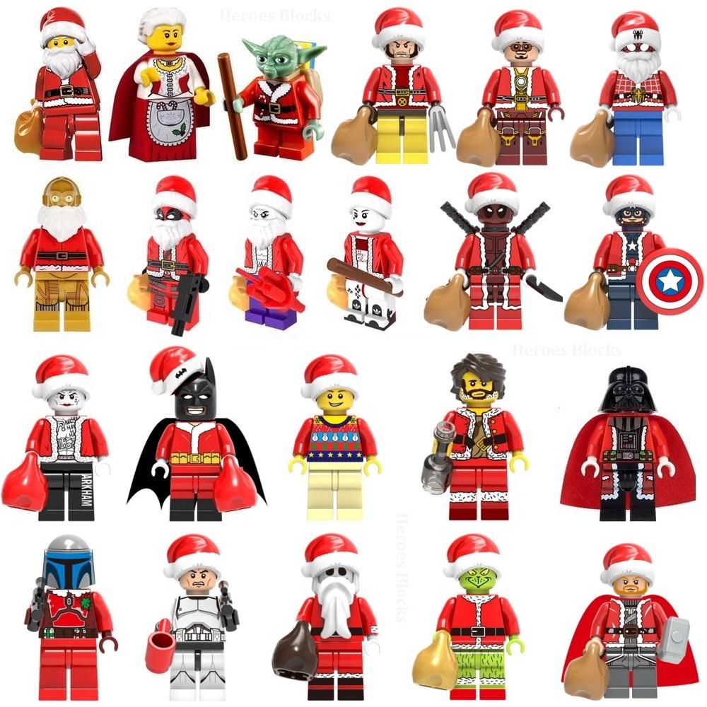 Super Heroes Christmas Joker Grinch Santa Claus Snowman Yoda Batman Iron Man Thor Building Block Toy Kids Gift Compatible Legoed