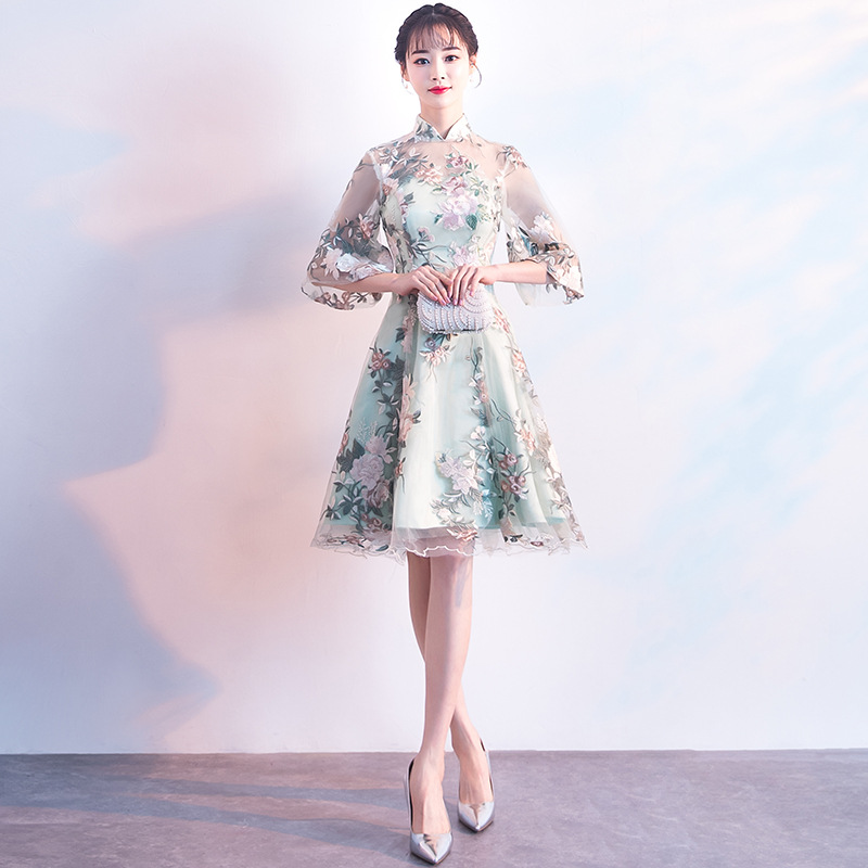 Chinese Style Women Flower Qipao Classic Improved Cheongsam High Quality Vestidos Elegant Bride Wedding Dress Casual Gowns
