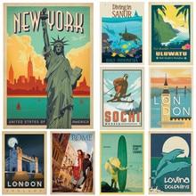 Cartel de paisaje Vintage de viaje de la ciudad del mundo de Londres romana de Nueva York impresiones arte de pared recubierto pintura habitación decoración del hogar