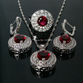 Bridal Silver Jewelry Sets Wedding Decorations Red Zircon Necklace Earrings Set 2016 Parure Femme Bijoux Nigeriane Cristal Ys002