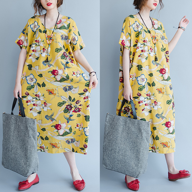 plus size cotton linen dress robe femme ete 2018 summer chinese style yellow floral print big. Black Bedroom Furniture Sets. Home Design Ideas