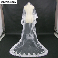 ROUND MOON Bride Ultra Long Veil Vintage Lace Elegant Luxury Veil