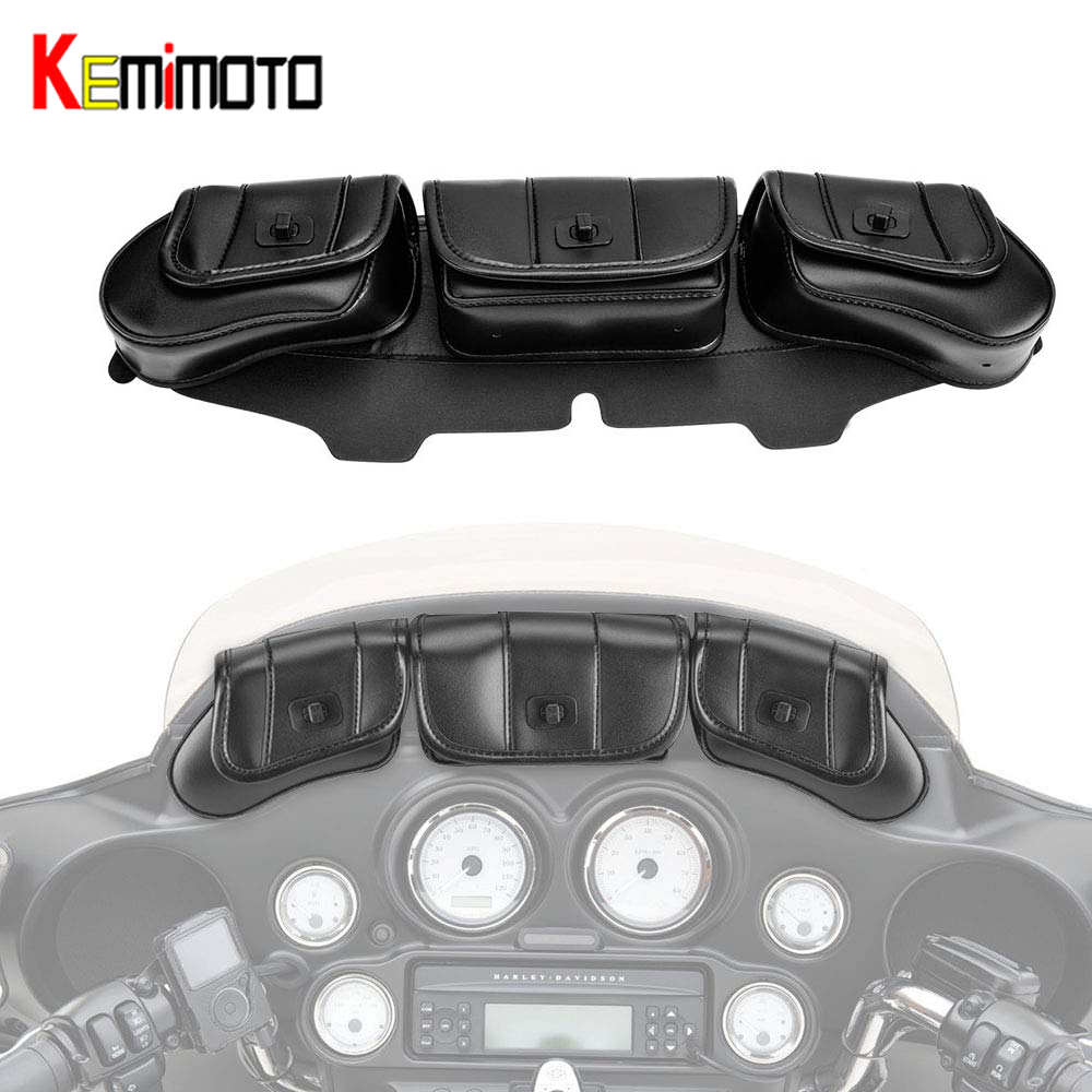 Hard-Working Kemimoto Motorcycle Windshield Bag Pouch For Street Glide For Electra Glide Windshield Bags 1996-2013 To Prevent And Cure Diseases Home