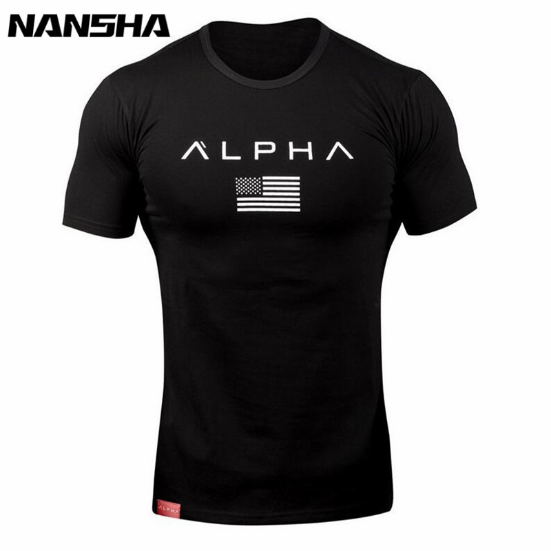 New Clothing Fashion   T     Shirt   Men Cotton Breathable Mens Short Sleeve Fitness   t  -  shirt   Crossfit Gyms Tee Tight Casual Summer Top