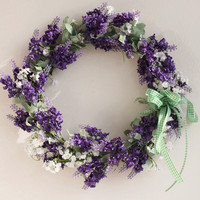 35cm(14) Lavender Door Wreath Wedding Dried Silk Flower Lavender Wreath Hanging New Doors Decorated Floral Head Wreath