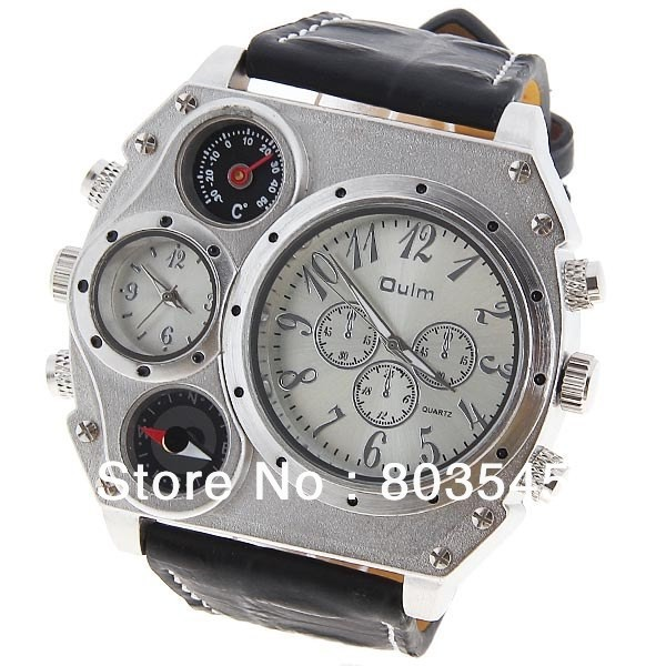 aliexpress com buy oulm 1349 wrist sports men s watch outdoor aliexpress com buy oulm 1349 wrist sports men s watch outdoor watches three sub dial decoration military watches leather band watch from reliable watch