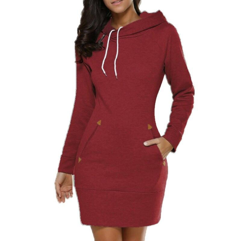 Hoodie Dress Women 2019 Solid color Hooded Long Sleeved Casual Pullovers Sweatshirt