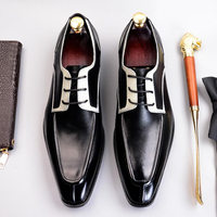 2019 High Quality Formal Dress Man Shoes Genuine Leather Handmade Oxfords Luxury Design Men's Bridal Wedding Party Flats SS381