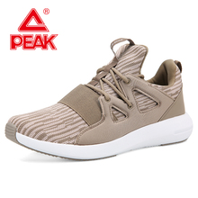 купить PEAK Men Urban Casual Shoes Knitted Breathable GORDLESS Walking Shoes Non-slip Wear-resistant Sports Training Seanker дешево